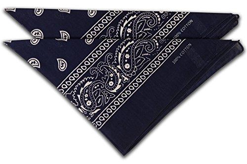 fashionchimp ® Nicki-Halstuch aus 100% Baumwolle im 2er Set, Unisex Bandana, AZO-Frei (Dunkelblau)