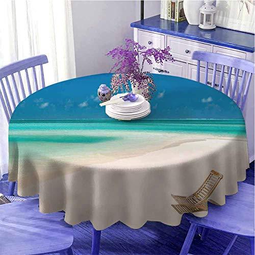 Seaside - Tovaglia rotonda, decorazione da tavolo su una spiaggia tropicale sabbiosa rilassante vacanze paesaggio marittimo immagine ad asciugatura rapida, diametro 109,2 cm, colore avorio blu e acqua