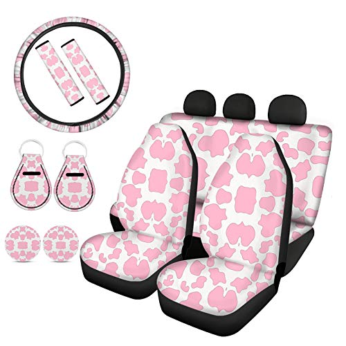 Goyentu Pink Cow Print Car Accessories Car Seat Covers Full Set for Front Back with Stretchy Steering Wheel Cover, Seat Belt Covers, Cup Holder Coasters, Auto Keychains Universal Fit 11 in 1