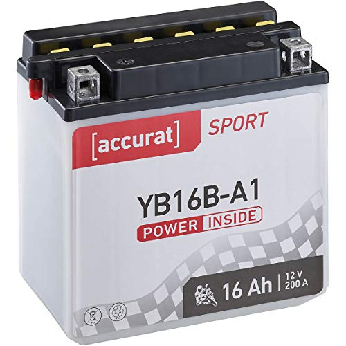 Accurat Motorrad-Batterie YB16B-A1 16Ah 200A 12V Standard-Nassbatterie inkl. Säurepack WET Starterbatterie in Erstausrüsterqualität leistungsstark