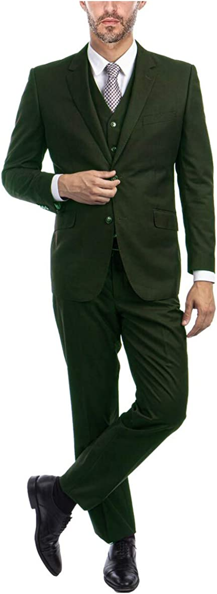 Regular Fit 3 Piece Suit with Vest and Flat Front Pants