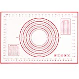 EasyOh Silicone Pastry Mat 100% Non-Slip with Measurement Counter Mat, Dough Rolling Mat, Pie Crust Mat - Red 16 x 24 Inches