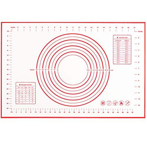 ZERLITE Silicone Baking Mat 100% Non-Slip with Measurement Counter Mat, Dough Rolling Mat, Pie Crust Mat 16 x 24 Inches