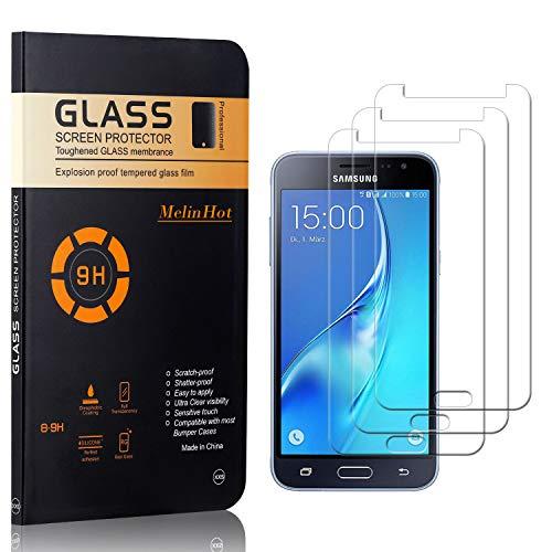 MelinHot Displayschutzfolie für Galaxy J3 2015, Anti Kratzen, Keine Luftblasen, Ultra Dünn 9H Schutzfolie aus Gehärtetem Glas für Samsung Galaxy J3 2015, 3 Stück
