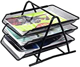 Material: A convenient 3 tier document storage rack made of mesh metal. Perfect for home and office use. Ideal way to efficiently organize paperwork, notepads, magazines, and all kinds of other documents. Easy to assemble: It will save your time. Eas...