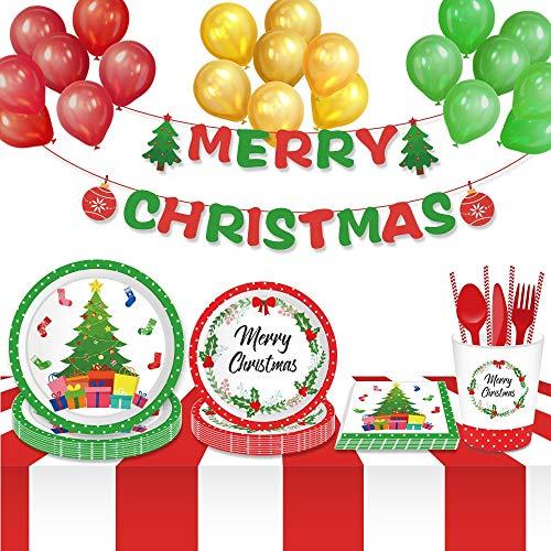 "li-ya Christmas paper & plastic serving 113 pcs dinnerware set disposable plates party decorations paper plates 7"" & 9"" cups straws napkins plastic knives plastic forks and plastic spoons (Fir Tree)"