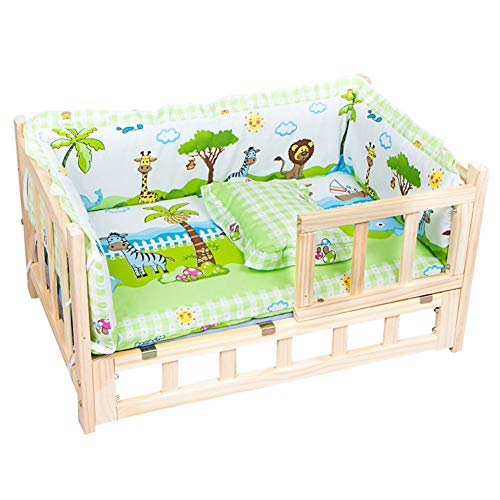 LXLA Pet Sofa Dog & Cat Bed - Wooden Elevated Pet Cot with Thick Cushion & Fence, for Cats and Small Medium Dogs, Summer and Winter Use (Size : L 90×55×42cm)