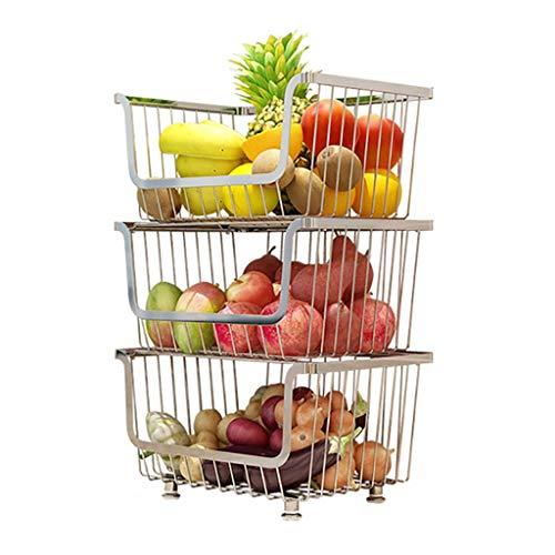 ZZHF yushizhiwujia Étagères de cuisine/acier inoxydable/panier de stockage de fruits et légumes/support de légumes de cuisine/plancher multicouche/support de stockage de fournitures de cuisi