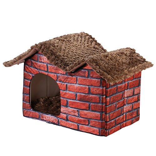 DoubleBlack Hundehaus Stoff Fuer Kleine Hunde Katzen Hundehöhle Kuschelhöhle Bett Hundehuette Drinnen mit Dach Ziegelsteinmuster