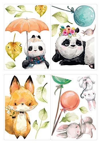 dekodino® Fenstersticker Kinderzimmer Aquarell Fuchs Panda Hase Luftballon