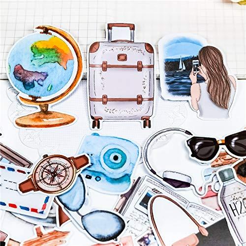 PMSMT 24 Piezas Lindo Globo de Viaje en avión Pegatinas de Viaje DIY Scrapbooking álbum de Fotos Decoraciones Etiquetas Adhesivas Material de Oficina Escolar