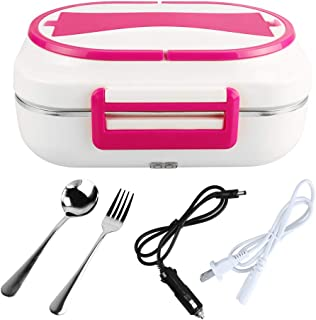 LOHOME Electric Heating Lunch Box Car Home Office Use Food Warmer Portable Bento Meal Heater with Stainless Steel Container 110V and 12V Dual Use (Red)
