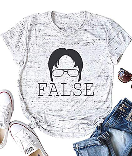 MNLYBABY Womens The Office Letter Print T-Shirt Dwight Silhouette False Short Sleeve Tops Graphic Tee Shirts White