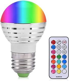 Bombilla de luz LED inteligente, E27 3W RGB Bombilla inteligente inalámbrica 16 colores que cambian la luz del día Luz blanca de la vela LED Bombilla de luz nocturna con control remoto