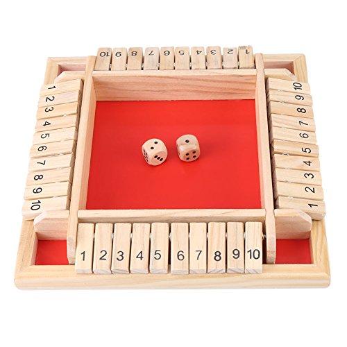 Holzzahl Brettspiel, Shut The Box 4-Spieler Shut The Box Holz Tisch Spiel für Kinder + Erwachsene, Lernen Zahlen, Pub Spiel 22,5 * 22,5 * 4 cm