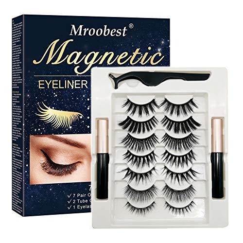Fau Cils Magnétique, Eyeliner Magnetique, Magnetic Eyeliner Kit De Cils Magnétiques, Imperméable, Réutilisable 7 paires Aimants 3D Faux Cils sans Colle, avec Pincette
