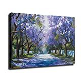 Abstract Jacaranda Tree Painting Art Prints HD Quiet Street Picture Print on Canvas Beautiful Landscape Poster Giclee Canvas Artwork Room Wall Art Decoration Ready To Hang (8'x12',04-Framed)