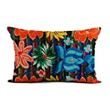 Topyee Throw Pillow Cover 12x20 Inch Indian Mexican Lumbar Indigenous Arte Mexico Embroidered Home Decor Pillowcase Lumbar Pillow Case Cushion Cover for Sofa Couch Bed