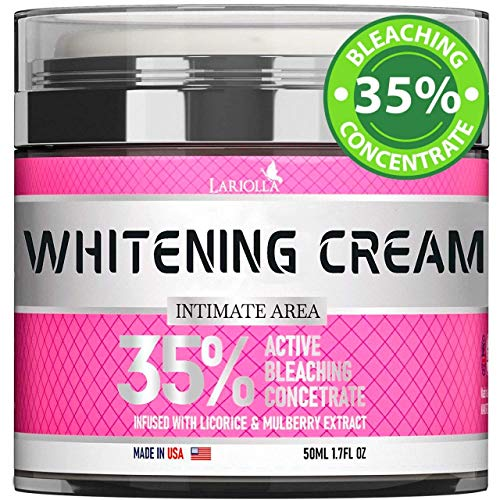 Bleaching Cream for Intimate Areas - Made in USA - Skin Whitening Cream Infused with Hyaluronic Acid & Potent Mulberry Extract - Dark Spot Remover for Body & Skin Lightening - VEGAN - 1.7 Oz