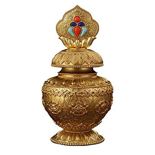 KKJJ Feng Shui Decor Tibetano Botellao de Loto Cobre Puro Artesanía Coleccionable Fortuna Dragón Rey Botella Decoración, Templo Budista Adornos Tibetanos Regalos,Metálico