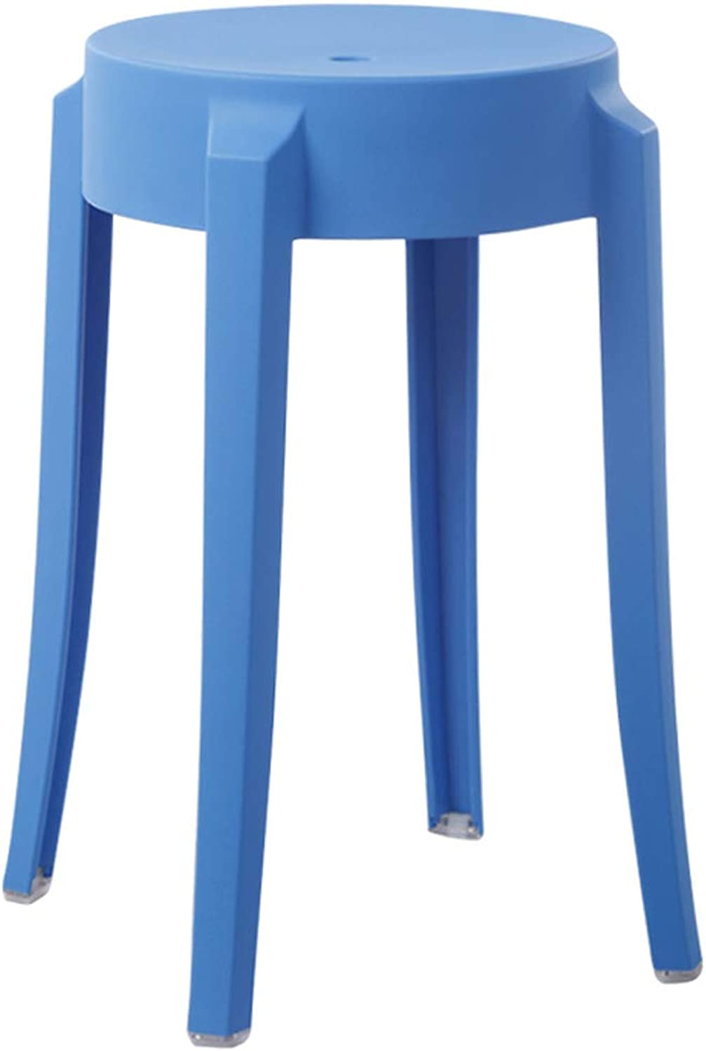 LRW Plastic Stools Thickened Adult Fashionable Small Stools, Modern Household High Stools, European Style Stool Chairs, bluee