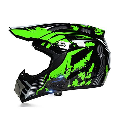 JJIIEE ECE Downhill DH Off-Road Motorcycle with Bluetooth,Full Face Motocross Helmet Set Crash Helmet Protective Gear (Gloves, Goggles, Mas.k, 4 Piece Set),A,XL