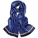 LDCSA Bufandas de Seda Hombre Bussines Scarfs Elegante Regalo 160cm x 26cm(Azul-3)