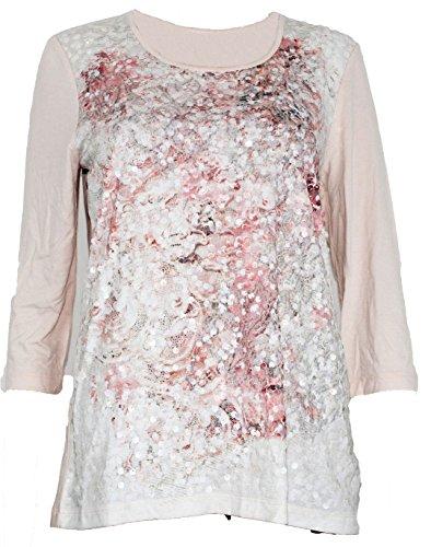 Gelco Damen Shirt ¾ Arm Tshirt rosa Pailletten (38)