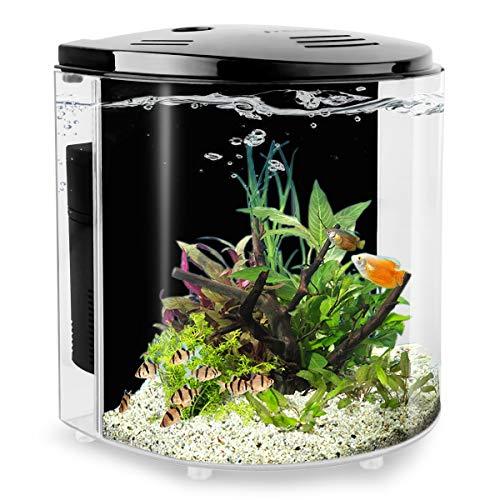 YCTECH 1.4 Gallon Betta Aquarium Starter Kits, Fish Tank with LED Light and Filter Pump White Black (320black)