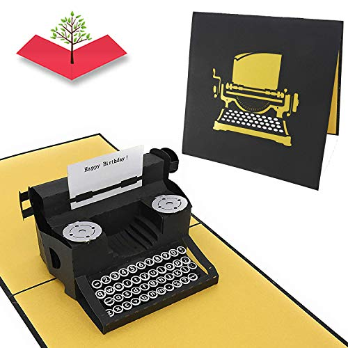PopLife Typewriter'Happy Birthday!' Message 3D Pop Up Birthday Card - Vintage Card for Hipsters, Bday Card for Writer - Fold Flat for Mailing - Gift for Grandma, Antique, Over the Hill, Old Fashioned