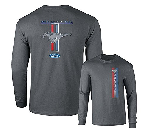 Ford Mustang Pony Racing Stripe 5.0 Muscle Shelby Long Sleeve T-Shirt Front Back Print, Charcoal, XL