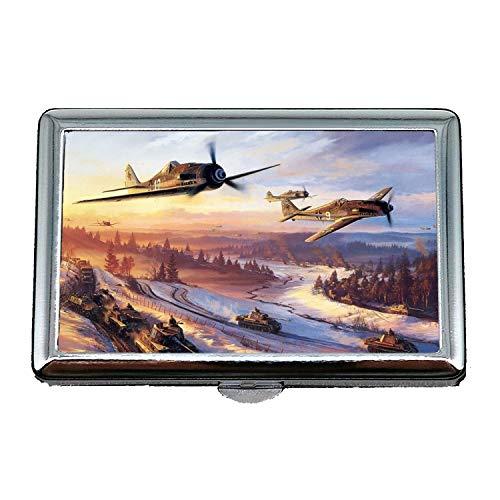 Yanteng Vintage Flugzeuge, Zigaretten-Aufbewahrungskoffer/Box, Straßenkämpfer Controller, Visitenkartenetui Visitenkartenetui Edelstahl
