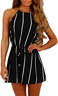 Sunhusing Ladies Sexy Sleeveless Rompers Stripe Print Wide Leg Shorts Jumpsuit Belt Lace-Up Playsuit