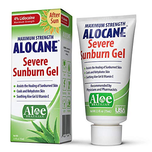 Alocane Severe Sunburn Gel, with Lidocaine, Vitamin E & Brazillian Aloe, Pain, Itch, After Sun Relief to Help Soothe, Repair, Cool & Heal Sun Burned Skin, Alcohol Free Non-Irritating, 2.5 oz.