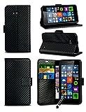 Microsoft Lumia 550 - Black Carbon Fibre Style Leather