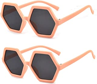 EZ Tuxedo Sunglasses for Kids Polygon Hexagonal Anti-UV Sunglasses(2 Pcs)