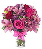 Flowers - Rose and Lily Bouquet (Free Vase Included)