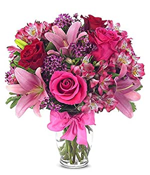 Flowers - Rose and Lily Bouquet  Free Vase Included