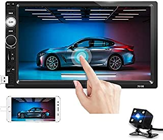 Double Din Car Stereo 7 Inch Touch Screen Car Radio Bluetooth Audio FM Radio Receiver with USB AUX SD Card Port Support Mirror Link + Steering Wheel Control & Backup Camera …