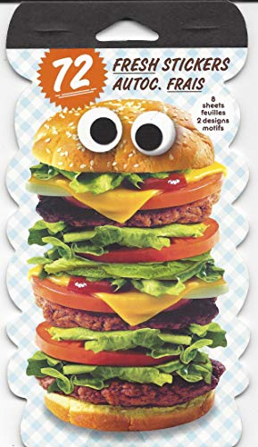 Stickety-Doo-Da Food Stickers, Funny Comical Humorous Food Pack of 72 Stickers