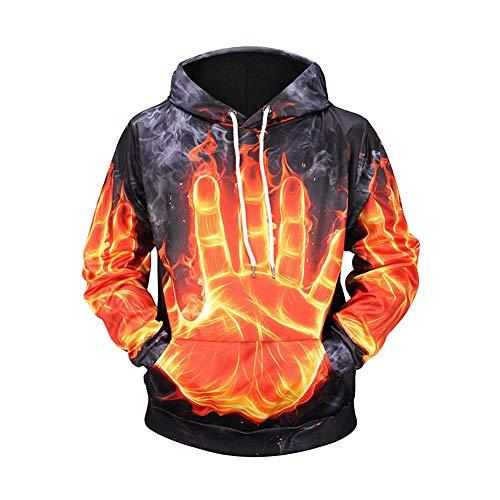 Jonyn 3D Männer Hoodie Sweatshirt mit Kapuze Freizeit Langarm Pullover Unisex HD Druck (XXS-XXXL) Feuerpalme