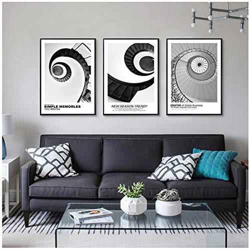 Unbekannt Moderne Dekoration Abstraktes Gebäude Leinwand Malerei Schwarz Weiß Rundtreppe Wandkunst Poster und Drucke Bild Wohnzimmer-50x70cm Kein Rahmen