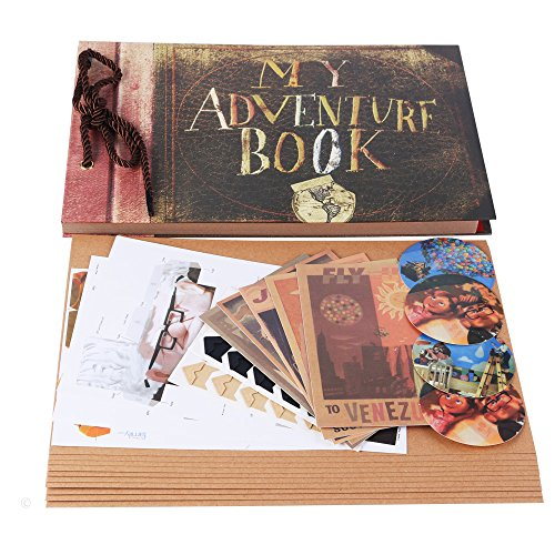 """My Adventure Book Scrapbook Photo Album 11.6""""x7.5"""" inches 40 Sheets with 10 sheets Refill Pages 5 Postcards and 2 Photo Corner Stickers"""