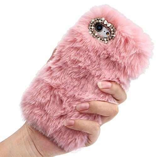 Preisvergleich Produktbild Girlyard Flauschig Haare Handyhülle für iPhone 8 / 7,  Winter Weiche Warme Pelz Backcover Bling 3D Diamant Kristall Shining Handmade Hülle Soft TPU Silikon Schutzhülle Haut für iPhone 7 / 8 (4, 7 Zoll)Rosa