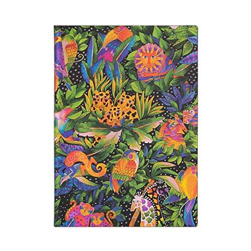 Paper Blanks Cuaderno Creaciones extravagantes Midi Jungle Song Lined 14 x 9,5 cm a rayas, hojas color crema.