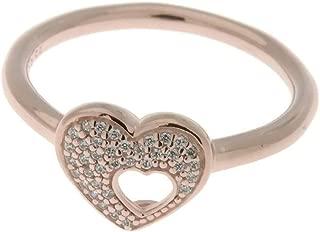 PANDORA Shimmering Puzzle Heart Frame Ring, PANDORA Rose & Clear CZ 186550CZ-54 EU 7 US