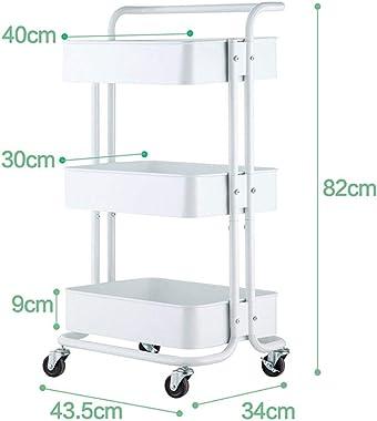 WB_L Kitchen Islands & Carts Shelf Kitchen Craft Carbon Steel Kitchen Trolley On Wheels with 3 Tiered Storage Baskets