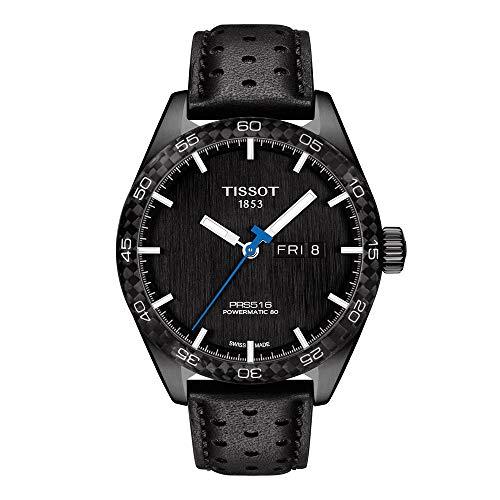 Tissot PRS 516 316L Caja de acero inoxidable con revestimiento PVD negro correa de cuero automático suizo, reloj casual 20 (modelo: T1004303605102)