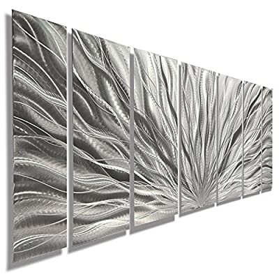 Statements2000 Abstract Large 3D Metal Art Panels Wall Hanging Indoor/Outdoor Sculpture by Jon Allen, Silver - Silver Plumage by Statements2000