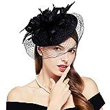 Por ejemplo /_ para mujer Retro Pluma Sombrero de Cóctel Té tocados Malla el pelo pinza Headwear Rap
